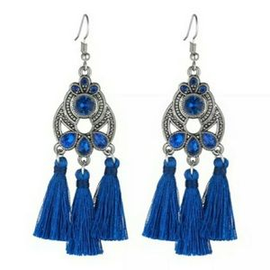 NEW! 💙 BLUE TASSEL SILVER-TONE DANGLE EARRINGS